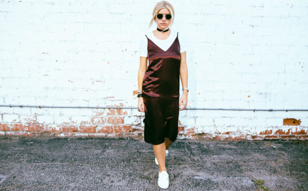 midi slipdress and white tee
