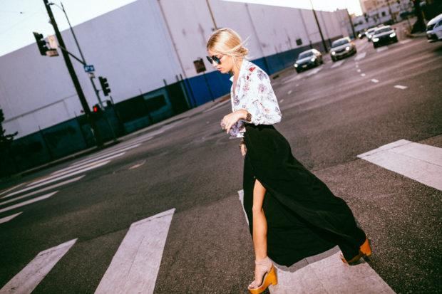 silk equipment blouse and maxi skirt