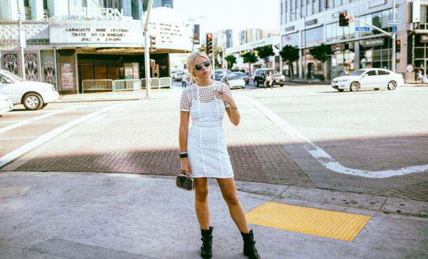 white lace mini dress and combat boots