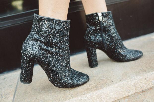 heeled glitter booties