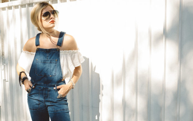 off the shoulder and overalls