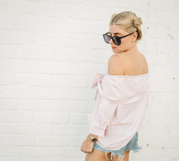 off the shoulder top and cutoffs