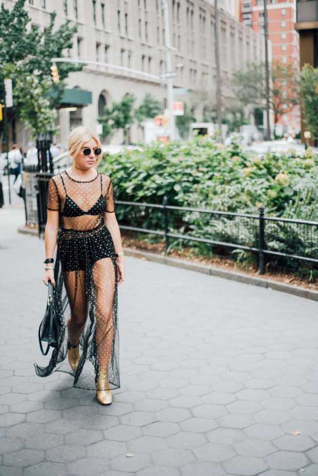 black-mesh-dress-over-bralette-and-hot-pants