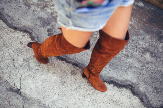 brown suede over the knee boots and cutoffs