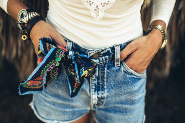 silk scarf and denim shorts
